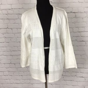 Alfred Dunner White  Open Front Cardigan Sweater L